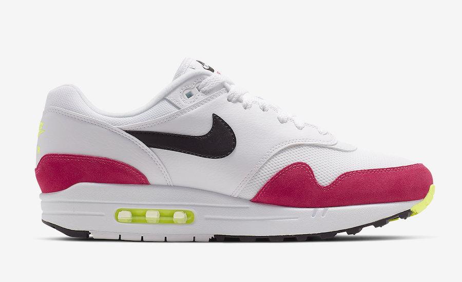 buy online 1e4b1 42ca5 Nike-Air-Max-1-White-Black-Volt-Rush-Pink-AH8145-111-Release-Date-2